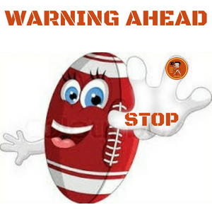 football with hand out warning