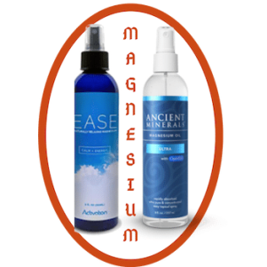 bottle of ease magnesium spray & Ancient minerals spray