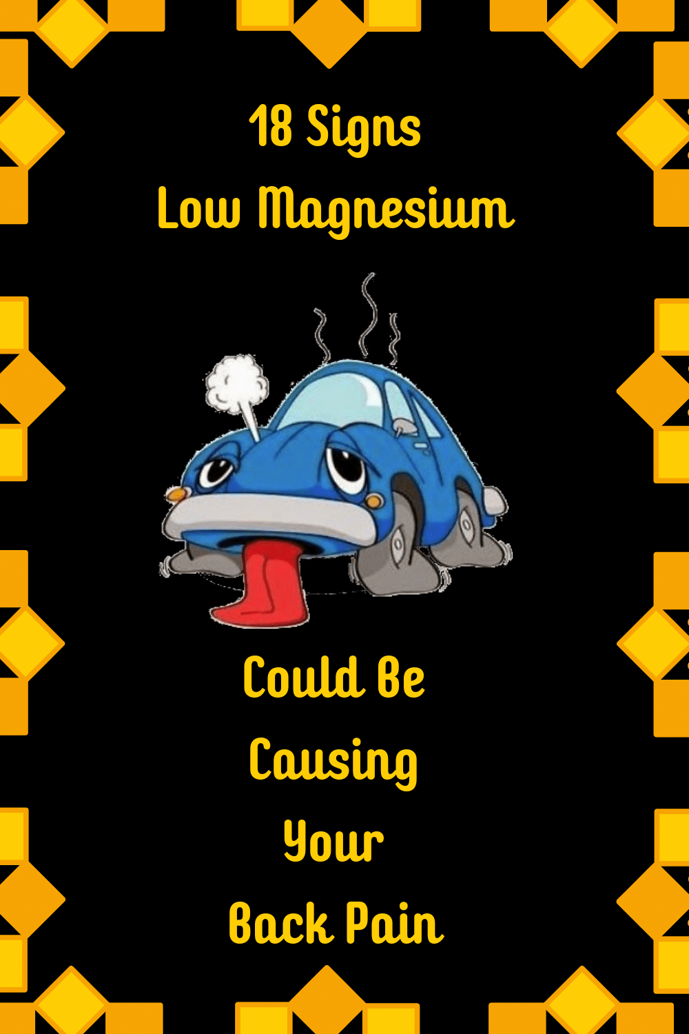 car with tongue hanging out because of magnesium deficiency